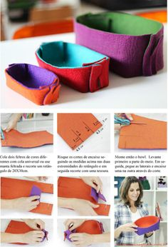 news Source by Felt Diy, Felt Crafts, Fabric Crafts, Diy And Crafts, Tutorial Patchwork, Pochette Diy, Craft Packaging, Fabric Boxes, Felt Fabric