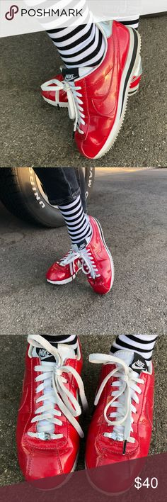 NIKE Cortez Ultimate pair of sneakers‼️old skool 70's vibes🔥 Cherry red color 🍒 '72 Nike Cortez ✔️ size 7.5  #nike #cortez #sneakers #trainers #kicks #70s #seventies #red Nike Shoes