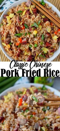 Pork fried rice is flavorful and comes together in 20 minutes. Perfect with my Chinese BBQ pork. You'll never get take out again! Pork Fried Rice Recipe Butter Your Biscuit -Butter Your Biscuit Olivia's Cuisine Fried Rice Recipe Chinese, Healthy Chinese Recipes, Easy Rice Recipes, Asian Recipes, Healthy Recipes, Fried Rice Recipe Vietnamese, Pork And Rice Recipes, Chinese Desserts, Fried Pork