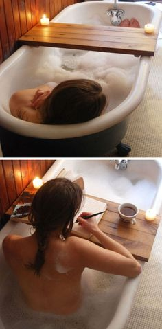 Tub Caddy ♥ L.O.V.E.  This has my name written all over it ! Bubble bath, glass of wine, candle, my most recent book, my calendar !! Sigh..