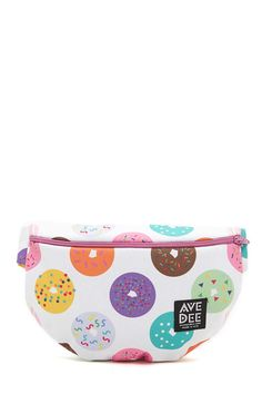 A fanny pack from Avenue Dee™ featuring an allover donut print with a top zipper and an adjustable contrast strap. Not available for in-store return.