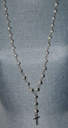 Long Pearl & Gold Rosary Necklace/Layering by HHartsockDesigns, $150.00