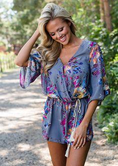 4ddf727e53e Remember This Floral Shorts Tie Romper Gray Modern Vintage Boutique
