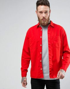 NUDIE JEANS CO CALLE LONG SLEEVE POCKET SHIRT - RED. #nudiejeans #cloth #