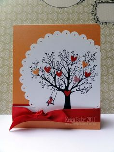 Use a Sizzix Big Scallop Die cut, I have a Tree stamp from Stampin Up that would be great. Very versatile idea...Valentines (pink/red/polka dot paper), Fall, Christmas..maybe even for a masculine card??