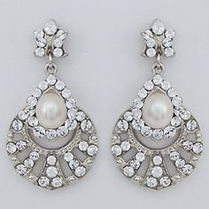 Dramatic vintage crystal bridal earrings with a freshwater pearl accent. Designed by Regina B. Vintage wedding earrings at Perfect Details.