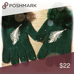 Handmade Green Knit Peacock Feather Gloves These warm and cozy pretty gloves are embellished with hand made glittery peacock feathers and have faux fur trim.   Perfect holiday gift for peacock lovers!  These gloves are stretch to fit and one size fits most ladies hands.   To care for your gloves, spot clean and air dry only, do not wash in washing machine or dry in dryer. Fashionista by Patrina Accessories Gloves & Mittens