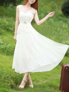 Sleeveless White Lace Chiffon Dress - White Maxi Dress on Etsy, $84.99 Longer for a wedding dress