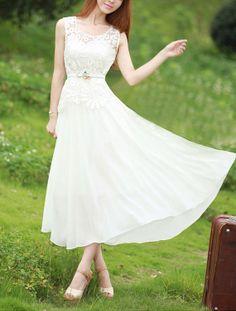 Sleeveless White Lace Chiffon Dress - White Maxi Dress on Etsy, $84.99 Longer for a wedding dress