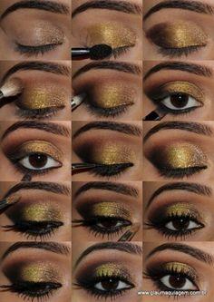 Delineador em gel da Yes Cosmetics  Pigmento dourado envelhecido da Coastal Scents, cor Blackned Gold (compre aqui)  Glitter dourado Coastal Scents, cor Golden Fairy Dust (compre aqui)  Rímel The Falsies Maybelline