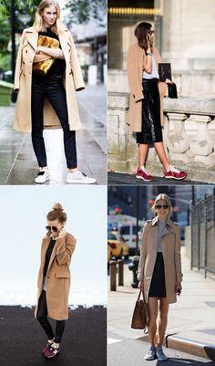 Sneakers + camel coat = autumn uniform