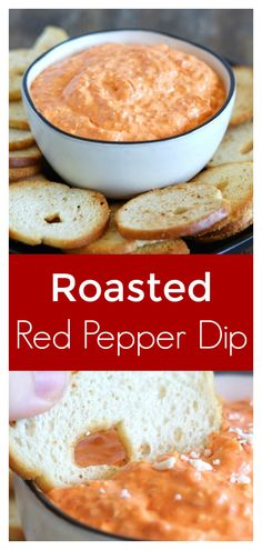 Roasted Red Pepper Dip - A quick and easy dip recipe made with just 4 simple ingredients! Roasted red peppers, feta, cream cheese, and olive oil blended together and topped with more feta. Perfect served with bagel chips or crackers! Appetizer Dips, Yummy Appetizers, Appetizer Recipes, Dip Recipes, Snack Recipes, Hummus, Bruschetta Dip, Red Pepper Recipes, Recipes With Red Peppers