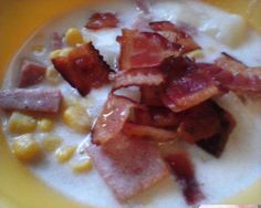 Recipes by: T's All Kine Ono Grinds. T's Ono Corn Chowder. Ono Kine Recipes, Spam Recipes, Cooking Recipes, Chowder Soup, Corn Chowder, Souped Up, Bacon Bits, Soups And Stews, Food To Make
