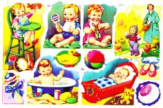 By Vintage Design: Free Collage Sheets Vintage Baby Pictures, Christmas Decals, Free Collage, Vintage Games, Vintage Toys, Decoupage Paper, Retro Toys, Baby Kind, Vintage Greeting Cards