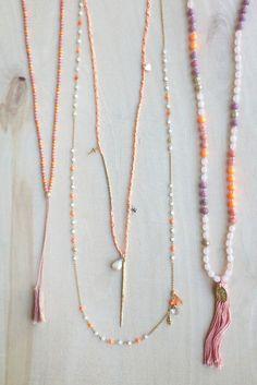 Neon Orange Mix Skull Layering Necklace