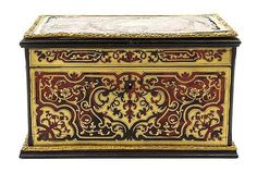 exquisite 19th c. Napoleon III Boulle Marquetry Tea Caddy by; Masion Vervelle, Spain