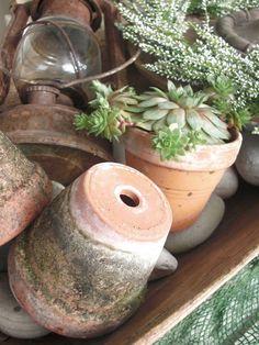 Inspiration i vitt potting sheds with their accessories садо Garden Table, Garden Pots, Garden Junk, Garden Cottage, Indoor Garden, Terra Cotta, Container Plants, Container Gardening, Terracotta Plant Pots