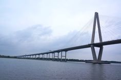 Closer view of Arthur Ravenel Jr. Bridge, also known as the New Cooper River Bridge, aboard the The General Beauregard Harbor Cruise in Charleston, South Carolina.