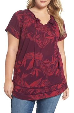 Main Image - Lucky Brand Tropical Leaves Peasant Top (Plus Size)