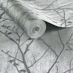 Heavy weight vinyl wallpaper from Graham & Browns Boutique Collection. Beautiful branch style design in shimmering metallic shades Silver Grey Wallpaper, Bronze Wallpaper, Hall Wallpaper, Ocean Wallpaper, Wallpaper Ideas, Silver Bathroom, Bathroom Black, Silver Walls, Graham Brown