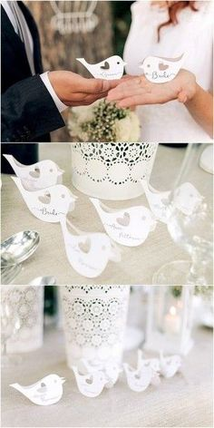 Rustic laser cut love birds wedding place cards Or hand cut for a childlike place name Wedding Table Decorations, Wedding Themes, Wedding Designs, Wedding Placecard Ideas, Love Birds Wedding, Dream Wedding, Wedding Day, Rustic Wedding, Wedding Reception