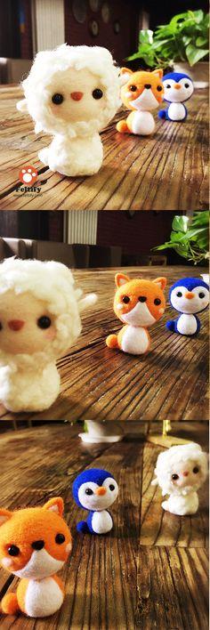 Handmade Needle felted felting kit project Animals fox penguin lamb cute for beginners starters