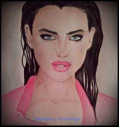 irina shayk, drawings,model,girl,carolina dudrova, illustration