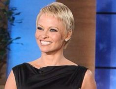 pamela Anderson on ellen show, she had just cut her hair. personally I think she looks great.