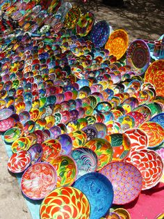 Colourful Mexican pottery, all handmade
