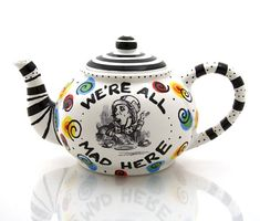 Mad Hatter Teapot Alice in Wonderland Tea party by LennyMud...need to find a pottery painting place to try to copy this!