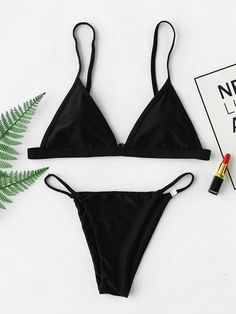 e280f76a6a003 Romwe Beach Triangle Bikini SetL High Leg Bikini