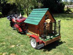 STRANGE HARLEY DAVIDSON MOTORCYCLE PULLING TRAILER WITH FULL DOG HOUSE - FENCE - BACK PORCH AND PORCH LIGHTS!