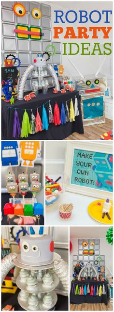 What a fun and creative robot boy birthday party! See more party ideas at CatchMyParty.com!