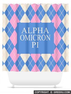 Sorority Argyle Pattern Pink Blue Lines Shower Curtain | Free Shipping. Order for your sorority (shown in Alpha Omicron Pi)! ** Also comes in other designs. Shop now! http://www.greeku.com/sorority/merchandise/home-decor/shower-curtains/argyle-pattern-pink-blue-lines-shower-curtain/