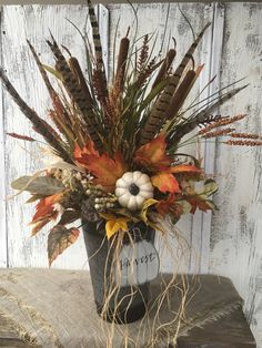 Excited to share this item from my shop: Fall Floral and Pumpkin Arrangement with Pheasant Feathers Thanksgiving Table Centerpiece Autumn Arrangement Harvest Decor FAAP Pumpkin Arrangements, Fall Floral Arrangements, Artificial Flower Arrangements, Floral Centerpieces, Artificial Flowers, Dose, Fall Flowers, Fall Wreaths, Pheasant Feathers