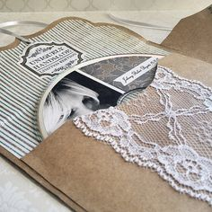 Kraft Paper CD Case with Lace Trim by DesignCrushStudio on Etsy, $15.00