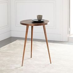 Tripod Side Table, Antique Brass At West Elm - Side Tables - End Tables - Accent Tables Glass Side Tables, Round Side Table, Glass Table, End Tables, A Table, Retro Side Table, Tree Stump Side Table, Aluminum Uses, Aluminum Table