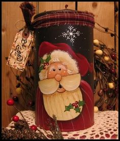 Renee Mullins Santa on a recycled tin
