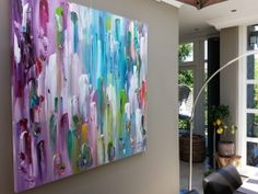 Key West-2 - groot abstract schilderij, paars / turquoise 140 x 140 x 4,5; door Taupe STUDIO