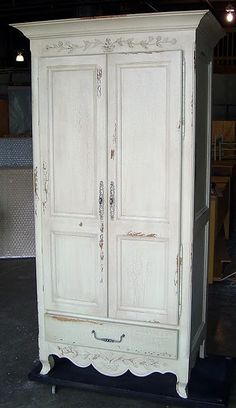 French Carved Armoire w Large Cabinet & Clothes Rod  (with many colors and finishes to choose from)