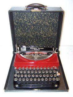 L-O-V-E it!!!  Antique 1932 Maroon Red Remington Model 5 Portable Vintage Typewriter | eBay  $359