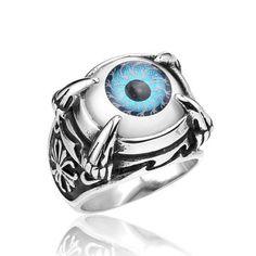 Stainless Steel Punk Dragon Claw Evil Eye Eyeball Ring