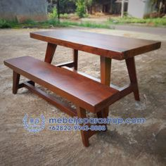 Jual Meja dan Bangku Kayu Trembesi Murah | MEBEL JEPARA SHOP Wood Table, Dining Bench, Dan, Shop, Furniture, Home Decor, Mesas, Dining Room Bench, Decoration Home