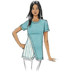 This new knit top/tunic pattern from Vogue Patterns gives you so many options for colorblocking and print/pattern mixing. Sew V9169, Misses' Contrast-Underlay Tops