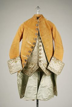 """c1765 """"Convertible"""" ensemble of silk and metal thread. The embroidered cuffs are detachable and an alternate silk velvet cuff can be attached in its place for a different look. See more views of all the components for this at http://www.metmuseum.org/collections/search-the-collections/80001536?rpp=60=1=on=Ensemble=A.D.+1600-1800=6#"""