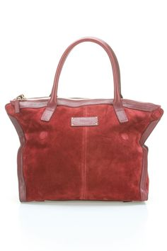 Alexander McQueen Suede Demanta Tote In Oxblood