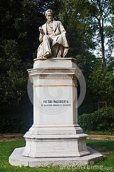 Pietro Paleocapa stone statue, in Venice, Italy, Europe.
