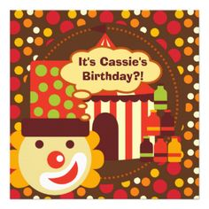 A happy clwon with a tall hat, polka dots, the big top, elephants, cool text, and areas you can easily add your party information on bright and cheery Clown and Polka Dots Circus Birthday invitations. #clown #circus #polka #dots #birthday #kids #children #elephant #big #top #customized #cute #custom #fun #colorful #toddler #peacockcards #retro #miscellaneous