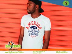 Sweet land of liberty custom shirt. At Big Frog we can put what makes you proud on your shirt... everything we do it custom made just for you! Contact us at DesignersValrico@BigFrog.com to get started! #DTG #Embroidery #ScreenPrint #Vinyl #Sublimation Patriotic Shirts, American Pride, Custom Shirts, Screen Printing, Custom Made, Liberty, Just For You, Florida, Embroidery