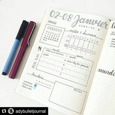 """I love the idea of this starter page for the week ! Probably going to try that soon too ! #Repost @adybulletjournal with @repostapp ・・・  For this first week of January, I'm experimenting a new layout : a page with the weather, my meal plan, and habits and mood trackers. My daily tasks will be on the following pages (2 days on one page) --------  Pour cette première semaine de janvier 2017, je teste une nouvelle mise en page : une page """"vue d'ensemble"""" avec météo, menus, trackers d'h..."""